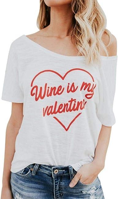 Camisetas Elegante Mujer Moda Shirts Verano Patrón De Corazón ...