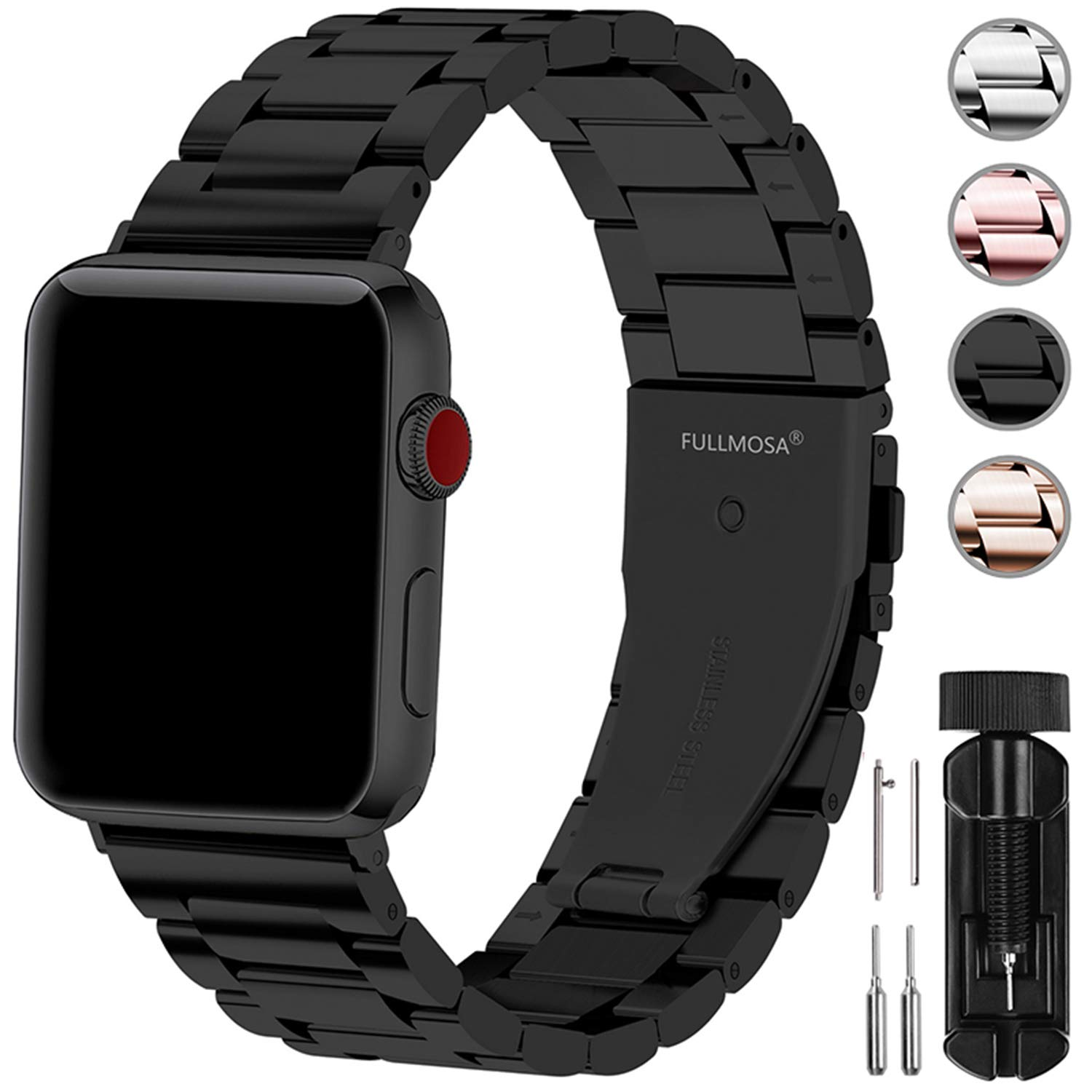Fullmosa Compatible Apple Watch Band 42mm 44mm 38mm 40mm, Stainless Steel Metal for Apple Watch Series 5 4 3 2 1 Bands, 42mm 44mm Black by Fullmosa