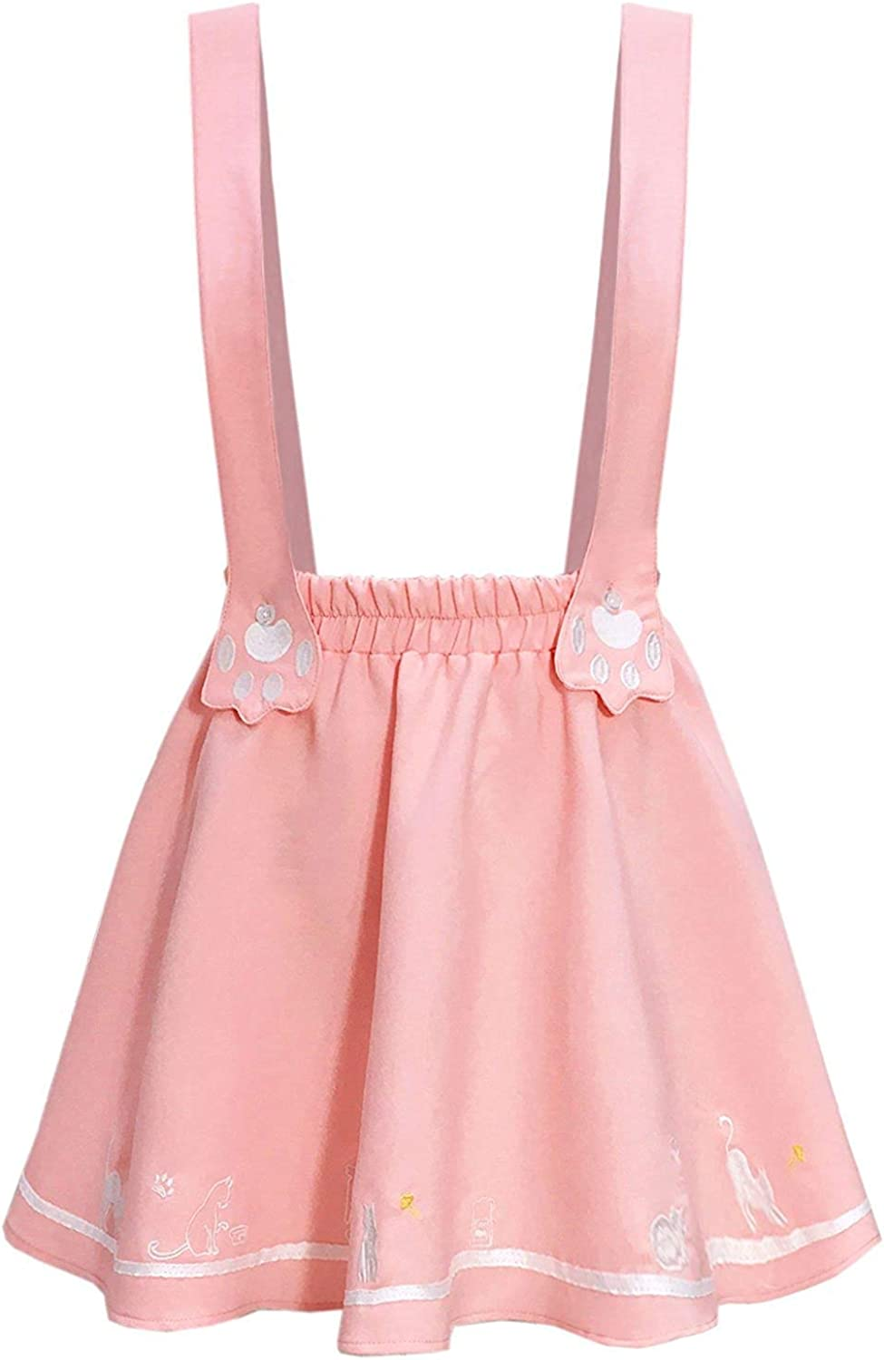 FUTURINO Womens Sweet Cat Paw Embroidery Pleated Mini Skirt with 2 Suspender