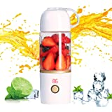 Portable Blender,Personal Blender for Shakes and Smoothie,Cordless Small Juice Cup Extractor, USB Rechargeable Juicer Detachable Fruit Mixer for Outdoor Travel Office Household Baby Food Maker 350ml (White)