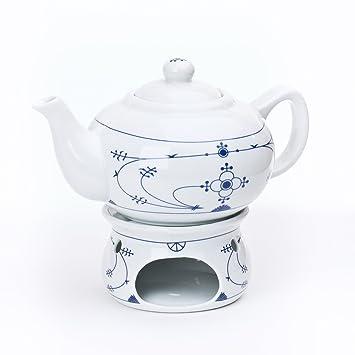 Ocean-Line Set Teekanne mit Stövchen 0,75l Porzellan Indisch Blau ...