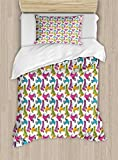 Ambesonne Teen Room Duvet Cover Set Twin Size, Retro Colorful Roller Skates in Vivid Colors Girls Sports Hobby Illustration, Decorative 2 Piece Bedding Set with 1 Pillow Sham, Multicolor