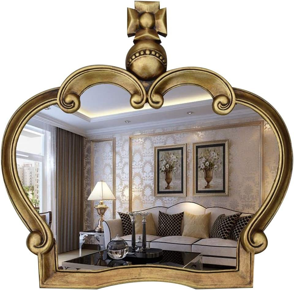 Amazon Com Njyt Bathroom Mirror Large Wall Mirrors For Living Room Antiqu Retro Shabby Chic Style Decorative King Crown Mirror Natural Daylight Wall Mounted Home Decor Color Gold Home Kitchen