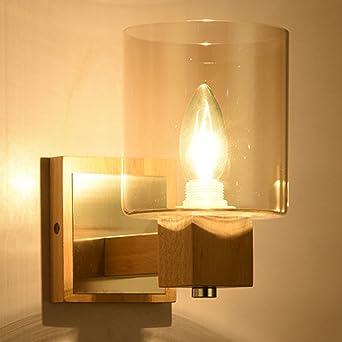 nblyl moderna lámpara de pared sencilla lámpara pared madera cristal iluminación de pared para dormitorio dormitorio Escalera Aisle Veranda E14 (sin fuente de luz): Amazon.es: Iluminación