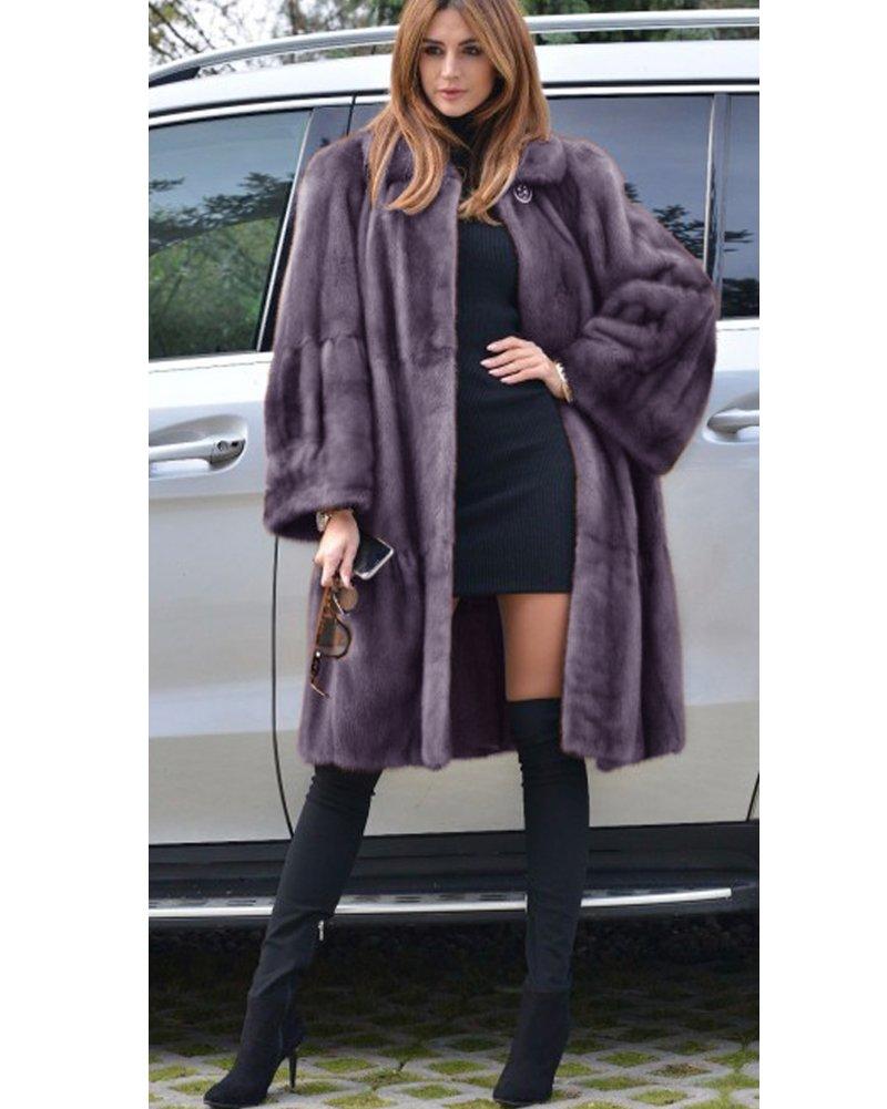 Aofur Luxury Faux Fur Parka Coat Long Lapel Trech Jacket Winter Outerwear Warm Overcoat Women Size S-XXXL (Medium, Grey) by Aofur (Image #8)