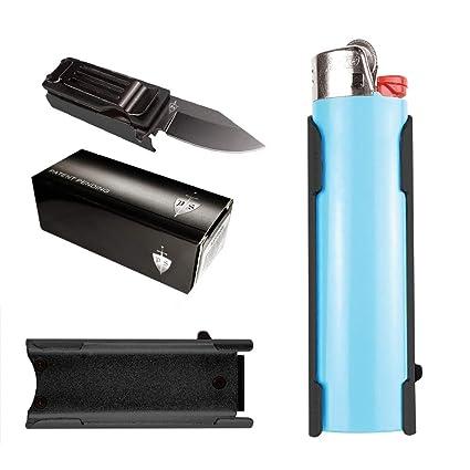 Lighter Holder With Spring Assist Knife, For BIC Lighter Holder Only  (Lighter Not Included) (Black)