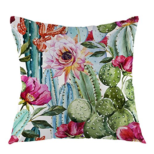 oFloral Cactus Flower Rose Throw Pillow Cover Watercolor Pillow Case Square Cushion Cover for Sofa Couch Home Car Bedroom Living Room Decorative 18 x 18 Green Pink Red