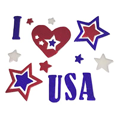 Impact Innovations Patriotic Reusable Gel Window Clings (Polka Dot and Striped I Heart The USA, 16 Clings, 1 Sheet): Toys & Games