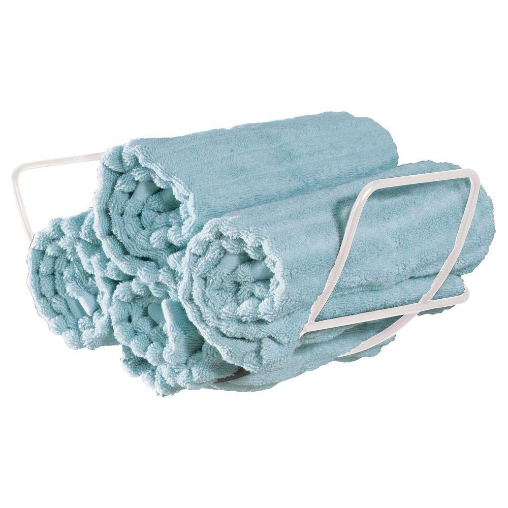 mDesign Wall Mounted Towel Rack Sleek Design and Simple Mounting White Metal Towel Rail for Bathroom Towels Wall Mounted Bathroom Accessories