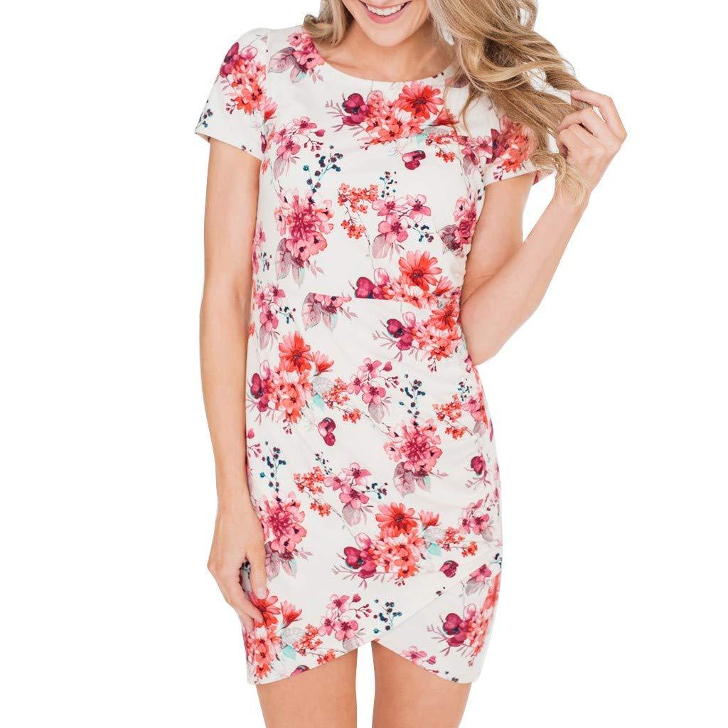 Mysky Summer Women Popular Sweet Floral Print Short Sleeve Party Holiday Dress White