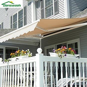 Diensweek 10u0027x8u0027 Patio Awning Retractable Manual Commercial Grade   Quality  100% 280G Ployester Window Door Sunshade Shelter   Deck Canopy Balcony P100  ...