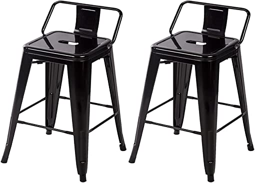 Metal Stools Bar stools 24 Inch Height Set of 2 Low Backrest Stackable Barstools Indoor Outdoor Dining Kitchen Tolix Style Bar Stools