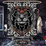 King custom made Shower curtain with bath mat King of Clubs Playing Gambling Poker Card Game Leisure Theme without Frame Artwork Bathroom Decor Sets with Hooks Multicolor