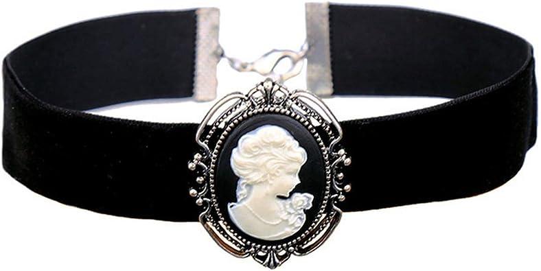 Women Necklace Collar Choker Victorian Vintage Gothic drop Pendant Black Lace