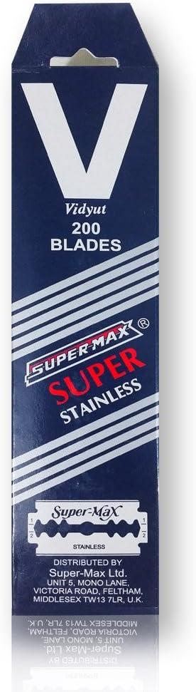 Supermax - Juego de 200 cuchillas de doble hoja para maquinilla tradicional (inoxidables)