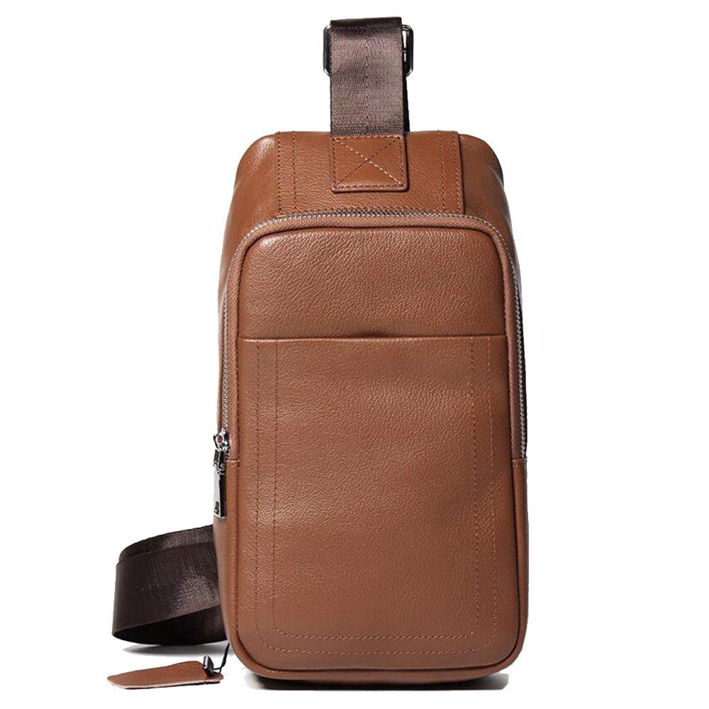JIANFCR メンズチェストバッグ、ビジネスレザーメッセンジャーバッグ、レジャーショルダートレンドメンズバッグ - スポーツバッグフルレザーチェストバッグ B07F8KZ8F2  褐色 One Size