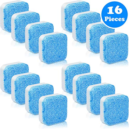16 Pieces Solid Washing Machine Cleaner Effervescent Tablet Washer Cleaner Deep Cleaning Remover with Triple Decontamination for Bath Room Kitchen