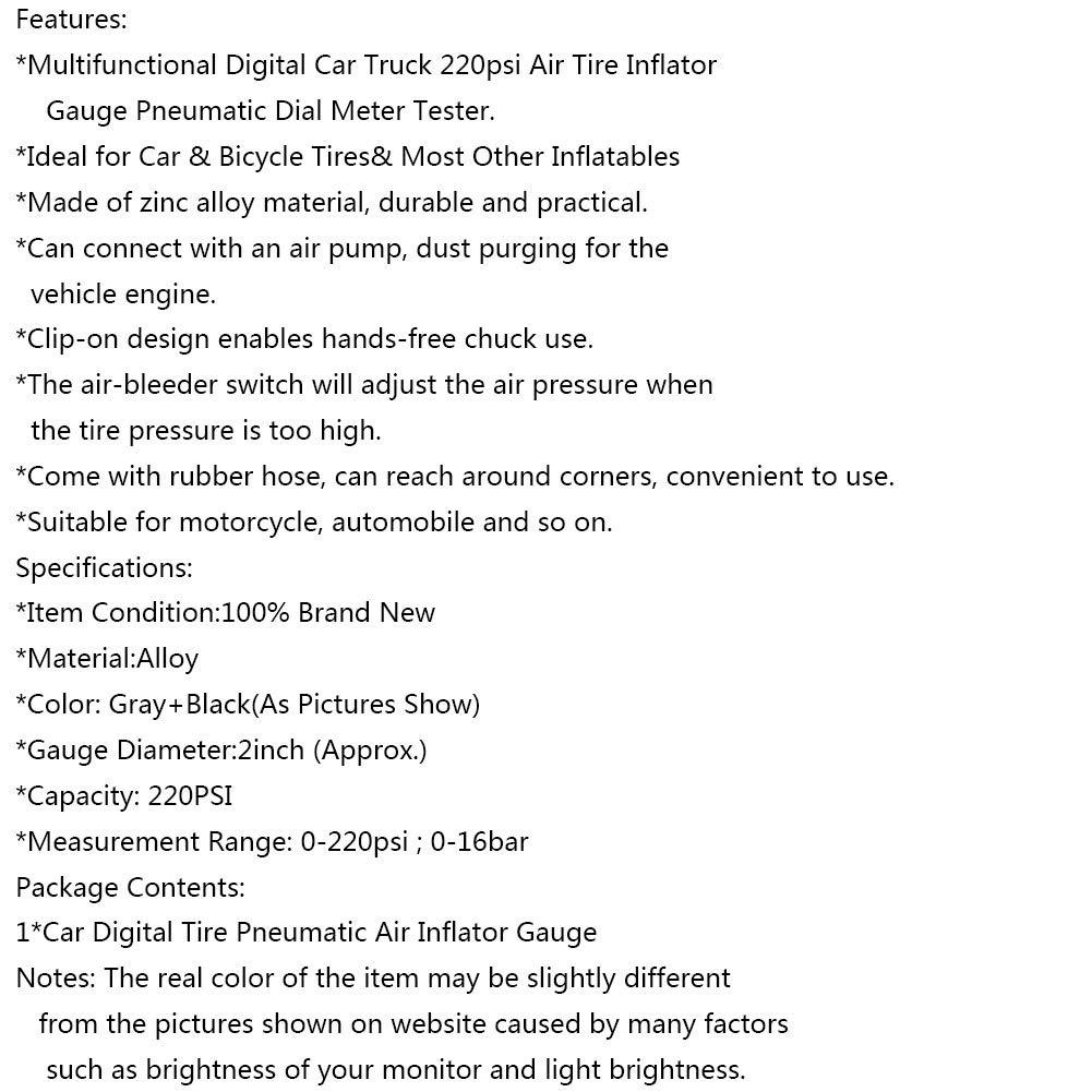 Medidor de presi/ón de neum/áticos para coche medidor digital de presi/ón de neum/áticos medidor de presi/ón de neum/áticos SimpleMfD pistola de aire de carga