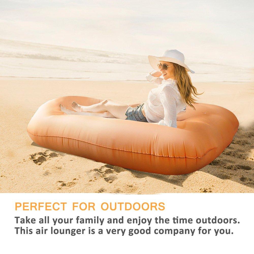 Amazon.com: Tumbona Inflable silla, tumbona de aire Hangout ...