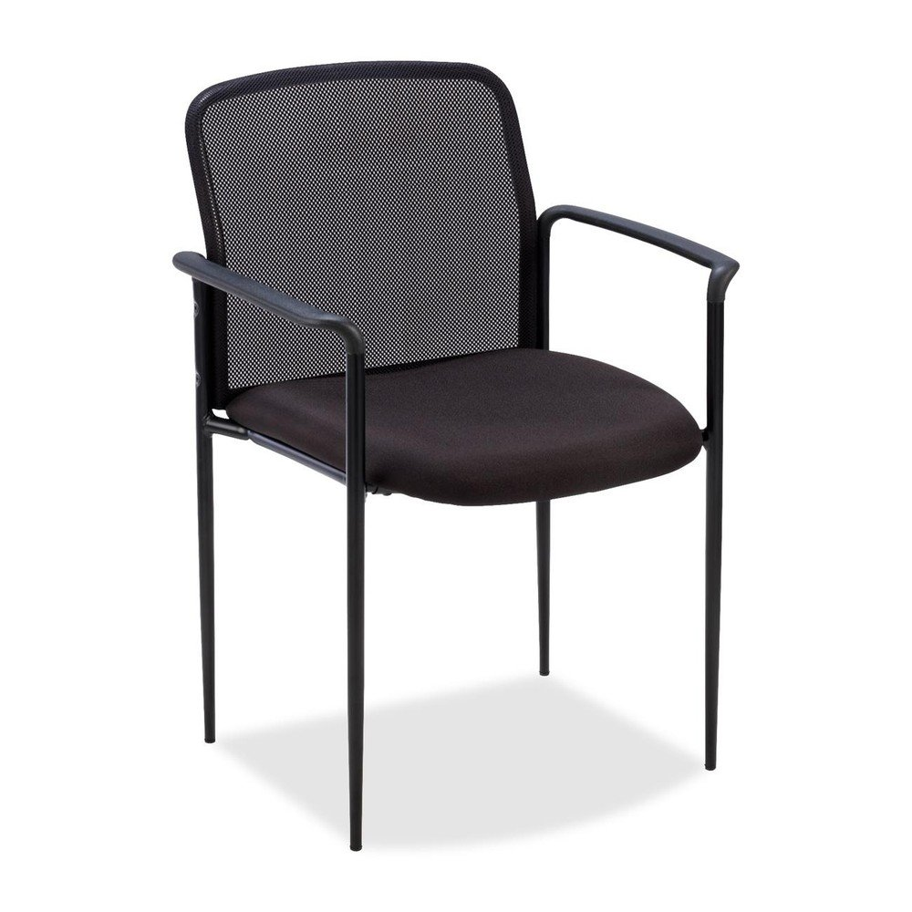 Lorell Reception Side Guest Chair -Black Seat -Mesh -Steel -23.8-Inch x23.5-Inch x33-Inch Overall Dimension S.P. Richards CA LLR69506