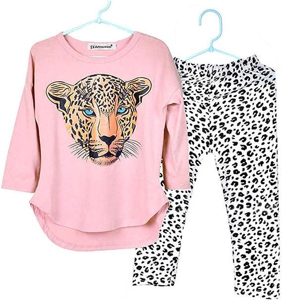 Moonker Baby Outfits Conjunto De Ropa De Otono Para Ninas De 2 12 Anos De Edad Adolescentes Ninos Con Estampado De Tigre Playera De Manga Larga Pantalones De Leopardo Rosado 7 8 Anos