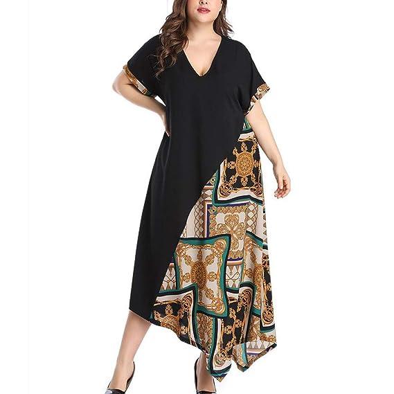 b9f32769bfe Vestido De Verano Mujer 2019 Talla Grande Vestidos De Fiesta Mujer  Elegantes Vestidos De Cóctel Tallas Grandes Señoras Vestido Largo Manga  Corta XL-XXXXXL: ...