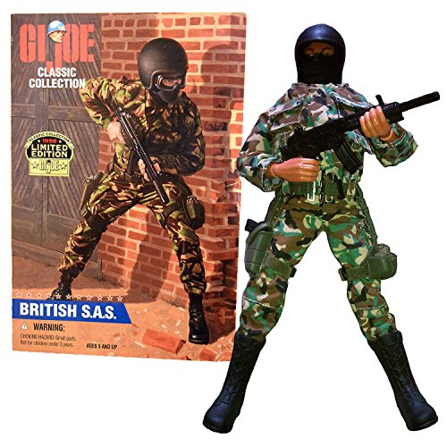 Kenner Year 1996 Limited Edition G.I. JOE Classic Collection Series 12 Inch Tall Soldier Action Figure Set - BRITISH Elite Force Special Air Service S.A.S with Helmet, Goggles, Face Mask, Gun with Holster, Grenades with Pouches and Assault Rifle with Silencer