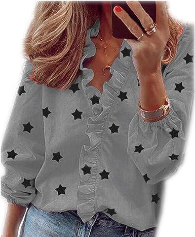 Camisa de Mujer con Estampado de Manga Larga con Cuello en V y Volantes de otoño: Amazon.es: Ropa y accesorios