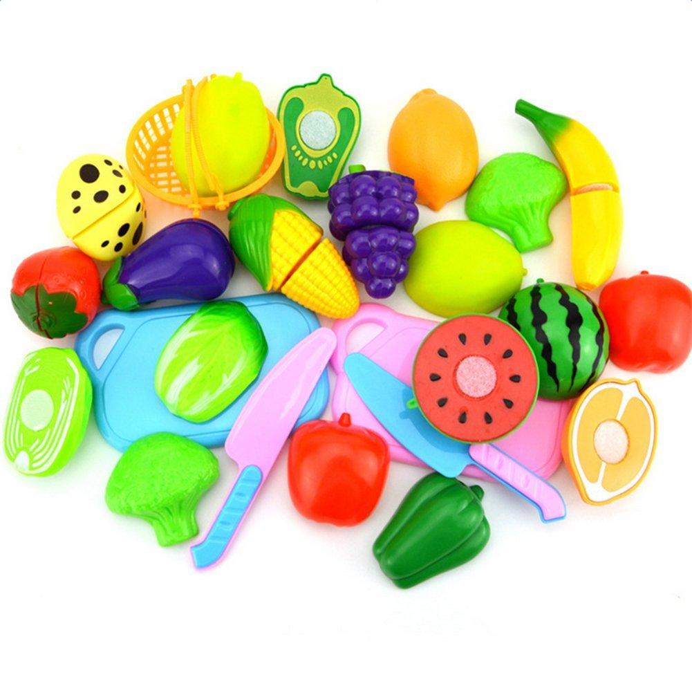 Leisial 24pcs de Juguetes Cortar Frutas Verduras Pizza Juego de Plástico para Niños Juguetes Eeducativos Set de Alimentos de Corte Juguete del Bebé