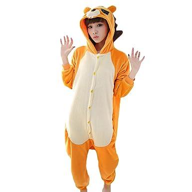 Pijamas Adultos Animales-Disfraz Anime Cosplay Ropa de Dormir Franela Traje Unisex Homewear S León