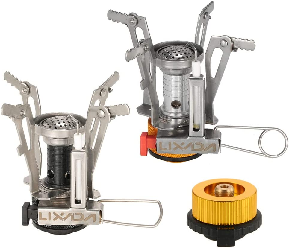Lixada Estufa de Gas de Encendido Piezo eléctrico Paquete de 2 Mini Estufa de Bolsillo Portátil con Adaptador para Mochilas al Aire Libre con Adaptador