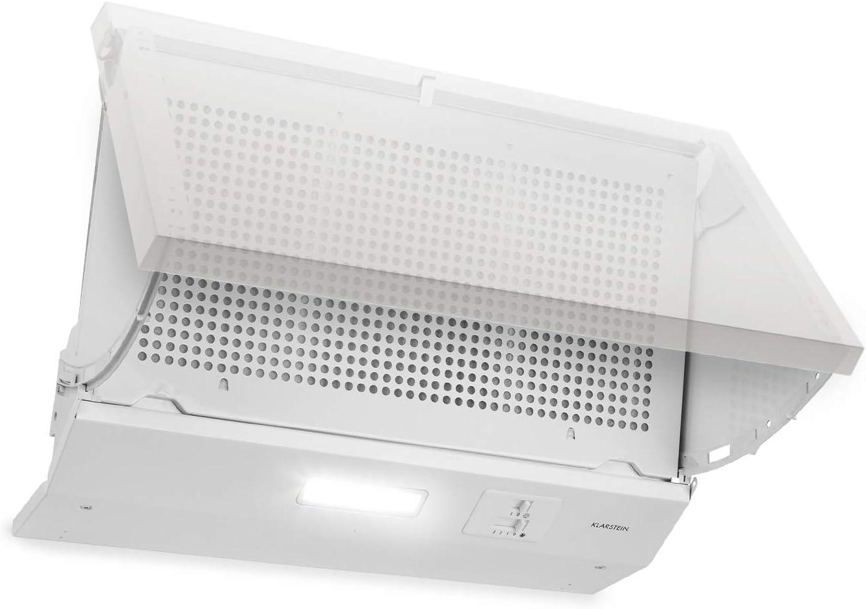 Klarstein Incognito Campana extractora - Extractor de humos, Para montar, 59,5 cm, Eficiencia energética: C, 3 velocidades, Iluminación, Rendimiento: 250 m³/h, Absorción y ventilación, Blanco