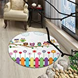 Owls Round Rugs Owls on a Branch Sunny Day in Countryside Farmhouse Fences Wildflowers Holidays ArtOriental Floor and Carpets Multicolor