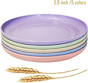 "JUCOXO Wheat Straw Appetizer Plates - 5 Pack 5.9"" Lightweight & Unbreakable Dessert Dish, Small Kids Plates for Fruit Snack Containe, Dishwasher & Microwave Safe"