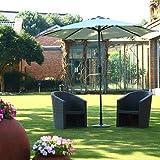 Patio Umbrella, Respace 9 Ft Aluminum Outdoor Table Umbrella, 8 Steel Ribs, 100% Polyester, UV 50,  Grey For Sale