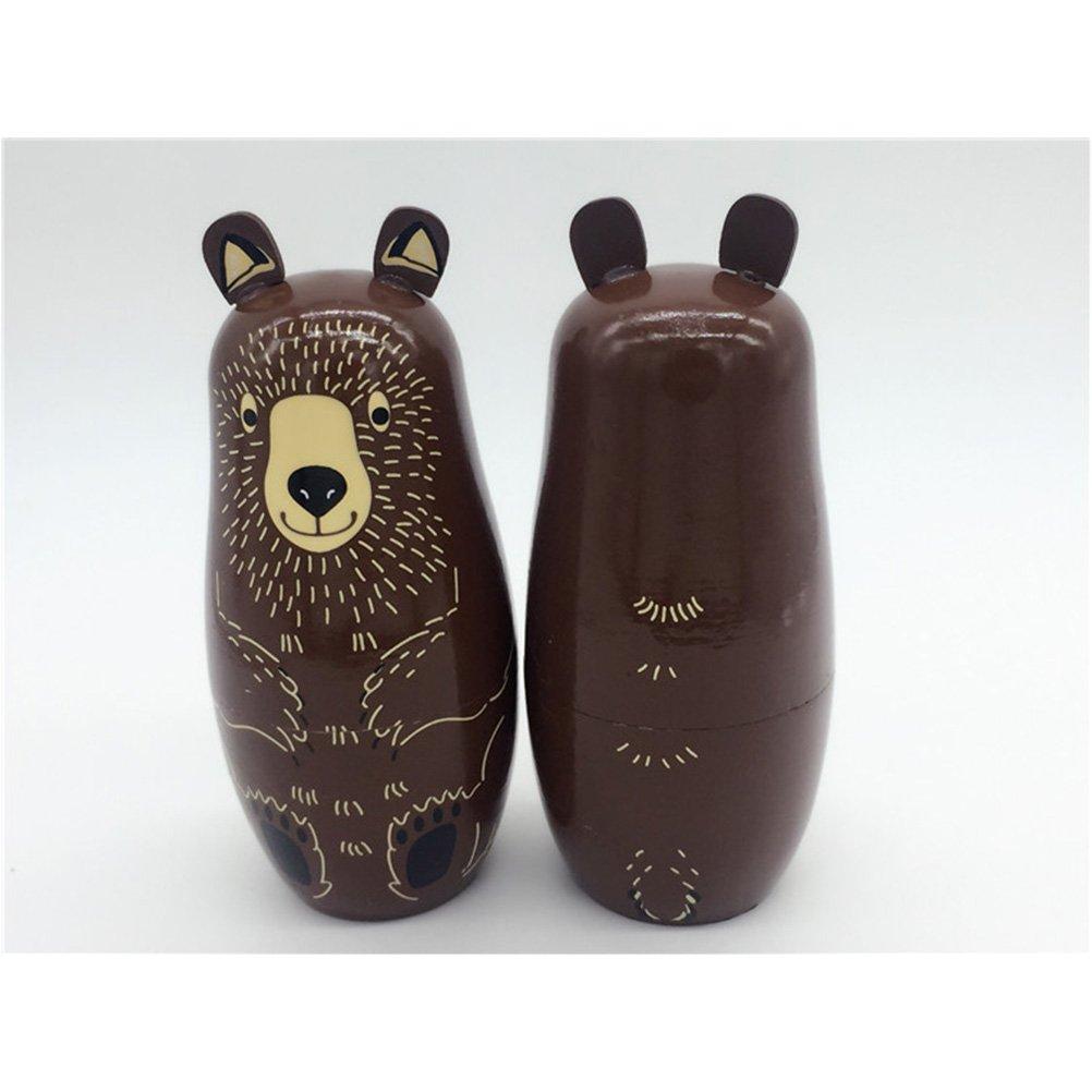 ULTNICE 5Pcs Russian Nesting Dolls Matryoshka Wood Bear Penguins Stacking Toy Doll