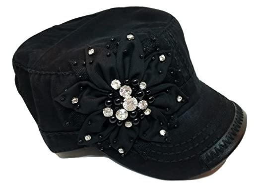 5d34b144a07 Olive   Pique Womens Bling Rhinestone Black Flower Military Cadet Hat (One  Size