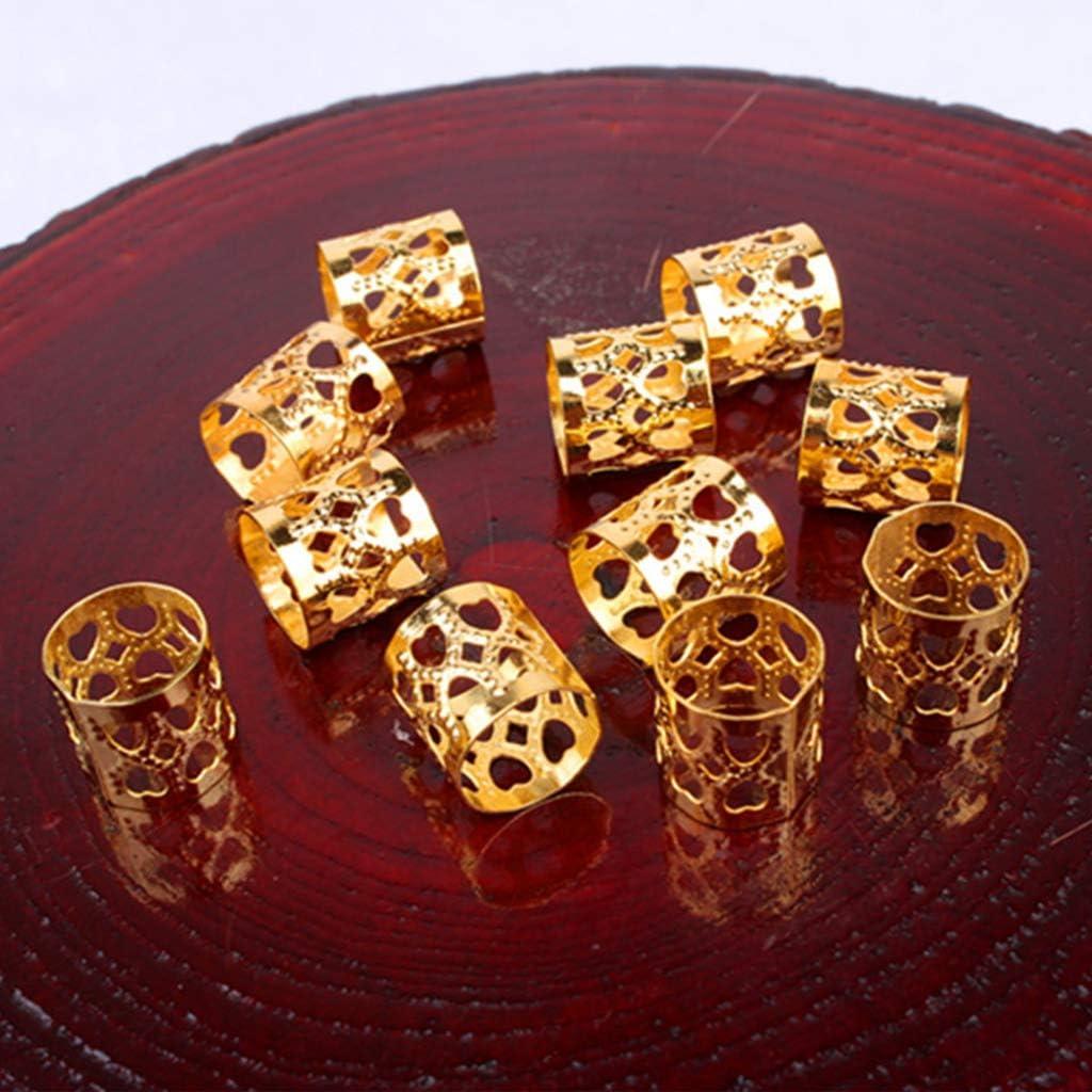 VIccoo 10 Pieces Silver Golden Dreadlock Beads Metal Hair Clips Accessories For Dreadlocks Adjustable Hair Bead Golden Silver Hair Rings Silver