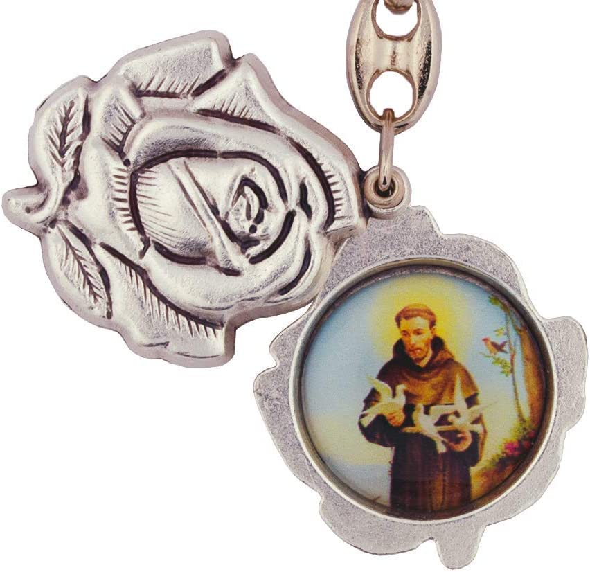 Slides Open Great Gift Sacred Heart   Immaculate Heart of Mary Made in Italy Rose Shaped Pewter Key Chain with Religious Pictures Inside 5 Different Sets of Religious Figures to Chose From