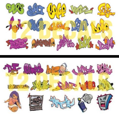 HO Scale Graffiti Waterslide Decals 2-Pack #5 - Weather Your Box Cars, Hoppers, & Gondolas! - T2 Slide
