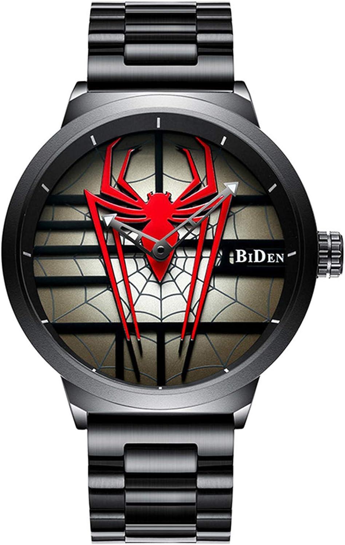Luxury Men's Spider Man Watch Stainless Steel Quartz Watch Large Face Wrist Watch for Men
