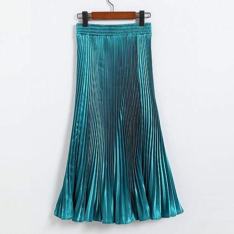 HEHEAB Falda De Invierno,Verde Metalizado Brillante Slim Fit ...