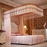 Encrypted mosquito netting,U-guide netting curtains Encrypted mosquito net Double floor bedding Four corners enhanced tactical mosquito net For single to king size beds Anti mosquito bites-Jade color