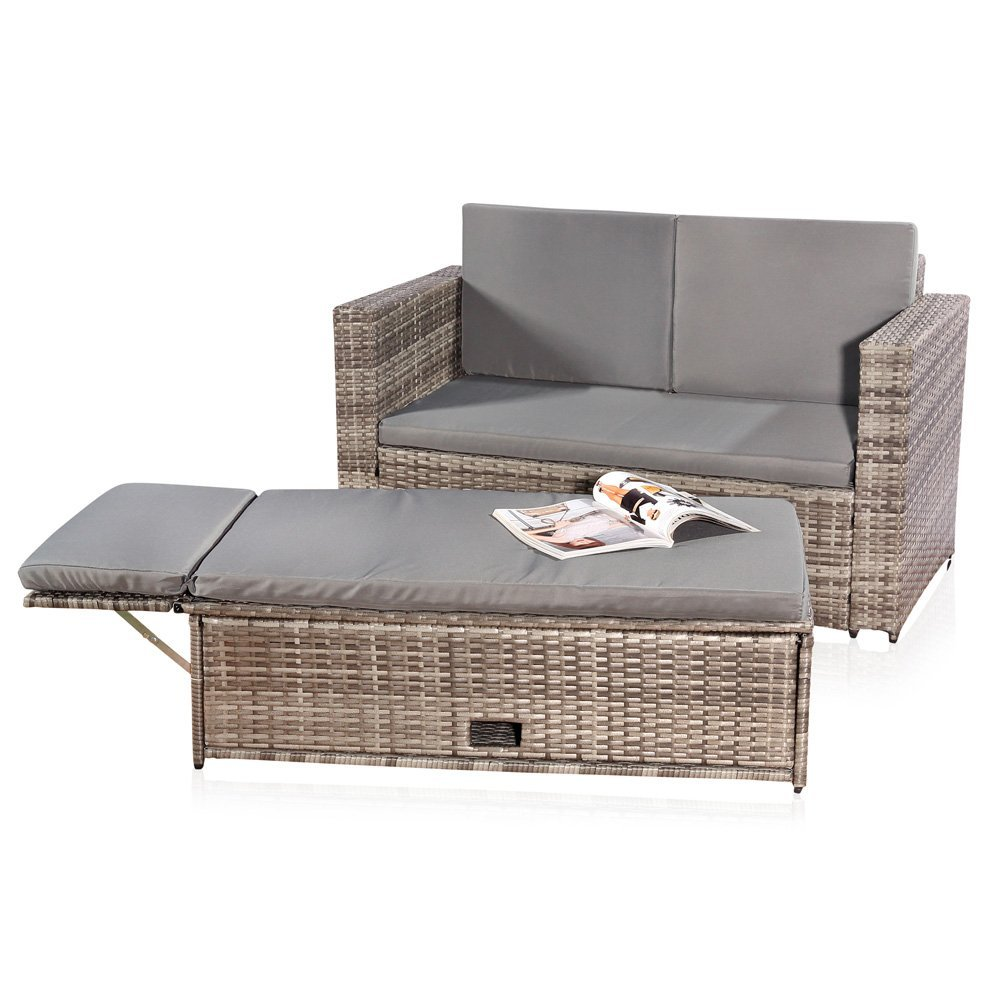 Amazon.de: Melko® Gartenset, Poly Rattan, Lounge Sofa-Garnitur mit ...