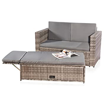 Lounge sofa rattan  Amazon.de: Lounge Gartenmöbel Sofa Bank Tisch klappbar Rattan ...