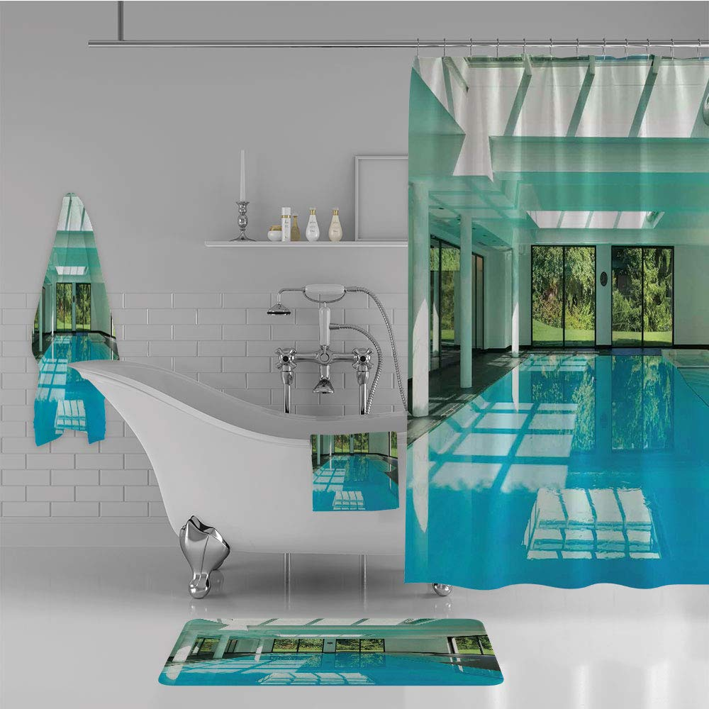 iPrint Bathroom 4 Piece Set Shower Curtain Floor mat Bath Towel 3D Print,Pool of a Modern House with Spa Window Residential,Fashion Personality Customization adds Color to Your Bathroom.