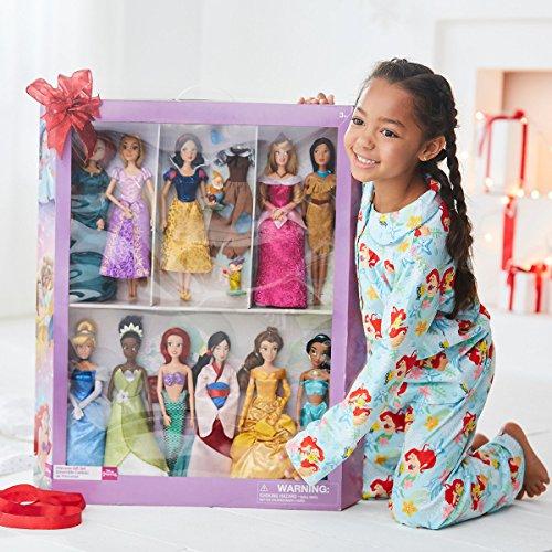 Disney Store Classic Princess Doll Collection - 12''- 11 Dolls + 2 Bonus Dopey and Happy & Bluebird, Snow White, Cinderella Aurora Ariel Belle Jasmine Pocahontas Mulan Tiana Rapunzel and Merida -