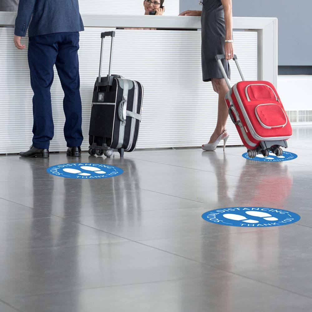 Pack of 20 Pharmacy Blue Bank and Lab Social Distancing Floor Decals Grocery Floor Markers for Crowd Control Guidance 8 Removable Safety Sign Waterproof Marker Stickers for Made to Walk on