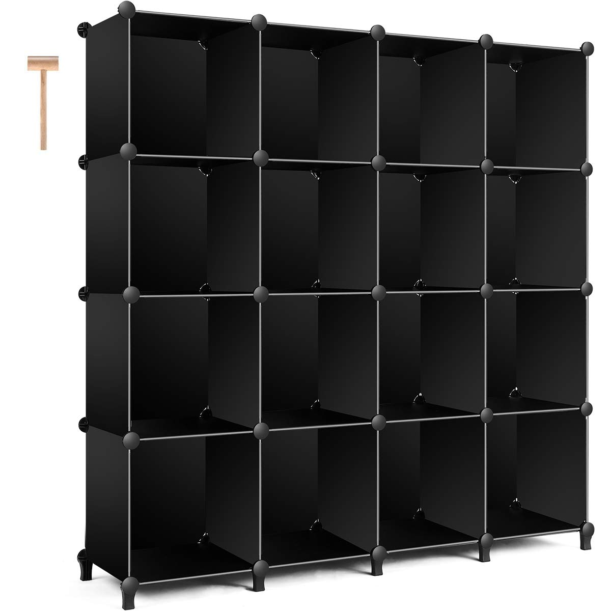TomCare Cube Storage 16-Cube Bookshelf Storage Shelves Closet Organizer Shelf Cube Organizer Plastic Book Shelf Bookcase DIY Closet Cabinet Organizers Shelving for Bedroom Office Living Room, Black