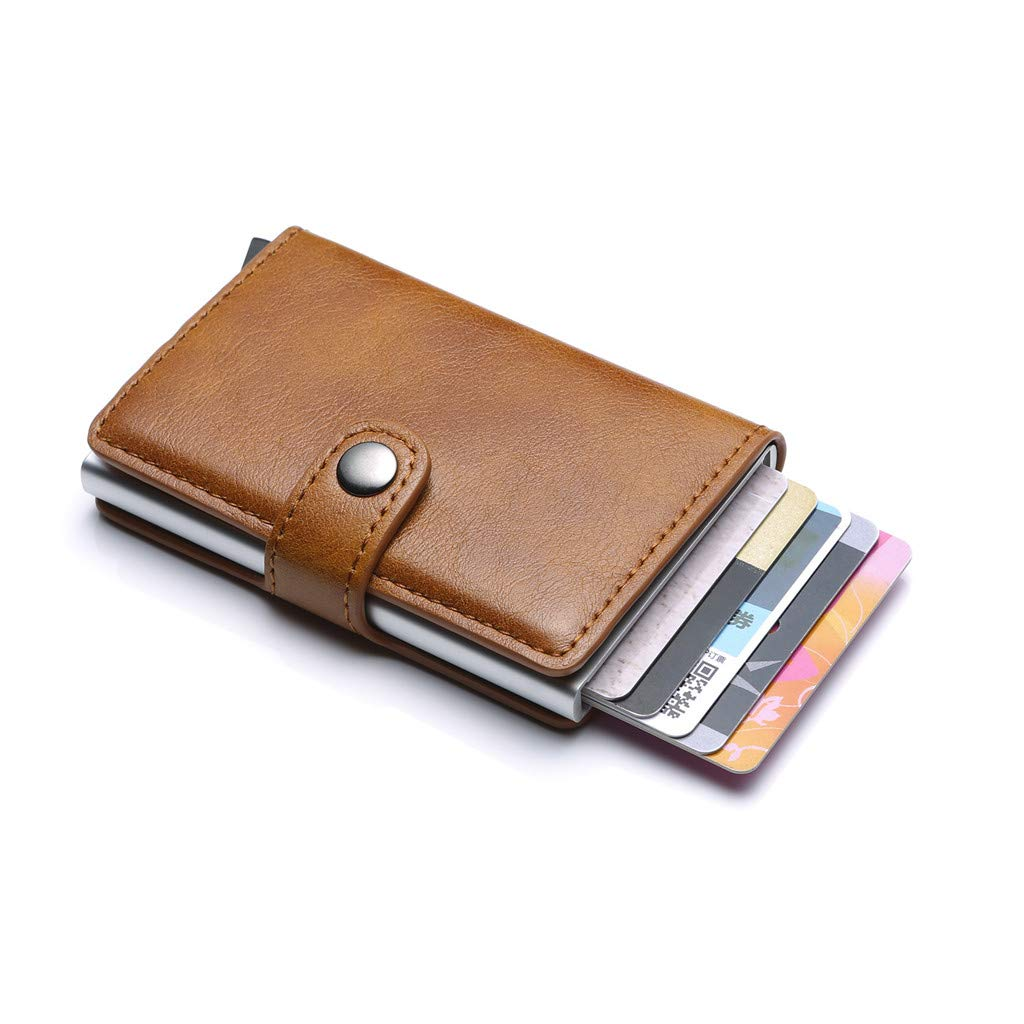 Clearance Wobuoke Women Men Vintage Aluminum Business Card Holder Automatic Pop-up Wallet
